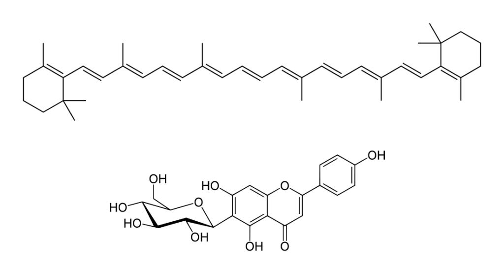 In alto un carotenoide (il beta-carotene, presente nelle carote). In basso un flavonoide (la isovitexina, presente nel fiore della passione)
