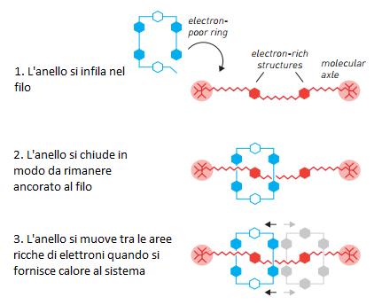Stoddart creò un sistema molecolare in grado di far muovere un anello avanti e indietro lungo un filo
